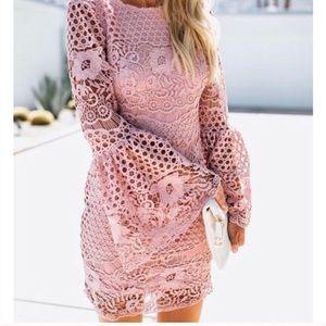 VICI Bethany Bell Sleeve Crochet Dress